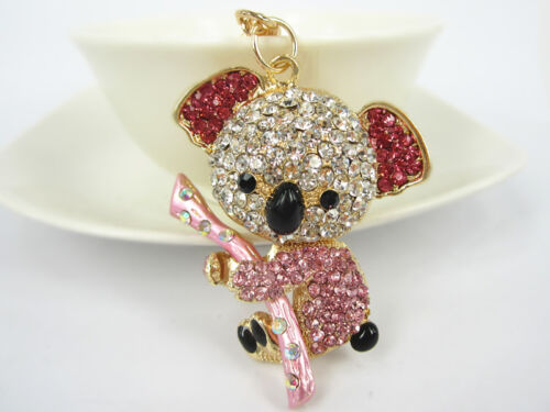 KC119 Sloth Koala Cute Rhinestone Crystal Charm Pendant Key Bag Chain Gift