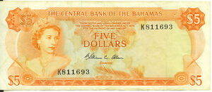 Central-Bank-of-Bahamas-1974-5-Five-Dollars-P-37b-Allen-Signature-F-VF-SCARCE