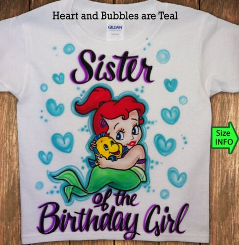 3XL Airbrushed Custom T-shirt Personalized Mermaid and Flounder Sizes 2T