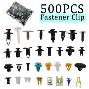 500-x-Auto-Car-Mixed-Fastener-Clip-Bumper-Fender-Trim-Plastic-Rivet-Door-Panel-T