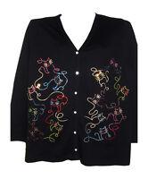 M 10/12 Terazzo Women's Crystal Art Deco Cat Design Terazzo Cotton Sweater