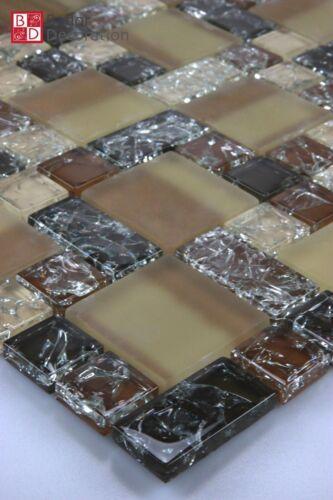 Glasmosaik Mosaike Mosaik Effekt Gebrochenes Glas 15x15 Hell-Dunkelbraun Beige