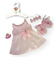 Teddy Bear Clothes Fit Build A Bear Pink Bridesmaid Flower Girl Dress Bow Shoes
