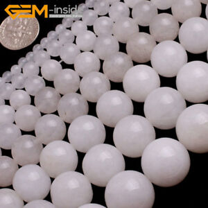 White-Jade-Gemstone-Round-Loose-Spacer-Beads-For-Jewellery-Making-Strand-15-034-UK