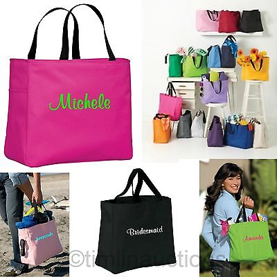Monogrammed Wedding Bridal Party Canvas Tote Bags Custom Name Embroidered Personalized Wedding Bridal Party Gift Bags Get Ready Shirts in