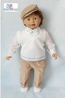 Baby Boy Bianco Beige Smart Canotta Vestito Battesimo Occasione Speciale 0-18m-mostra Il Titolo Originale