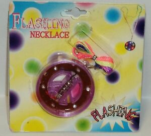 1 Multi Color Flashing Necklace PURPLE With Rainbow Pull Over Strap NIP