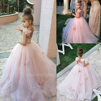 Princess Honey Christening Birthday Wedding Party Tulle Flower Girl Dress