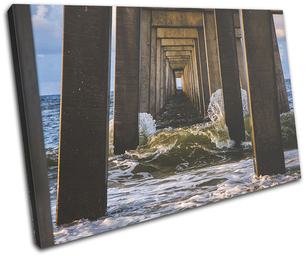 Beach Sea Pier Waves Landscapes SINGLE TELA parete arte foto stampa