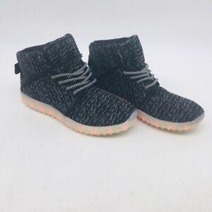 Demango Boys Light Up Sneakers Shoes Black LED USB High Top US 6.5 EU 37