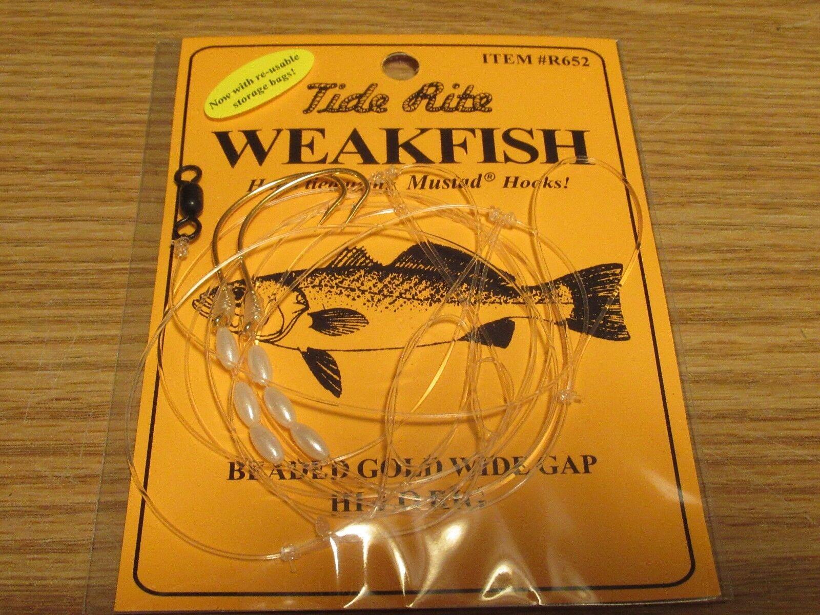 24 WEAKFISH SEA TROUT TIDE RITE R652  BEADED   HI-LO RIG  FISHING MUSTAD HOOKS  discount sales