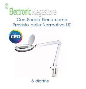 Lampada da tavolo con lente ingrandimento 5 diottrie in vetro 60 led a morsetto ebay - Lampada da tavolo con lente ...