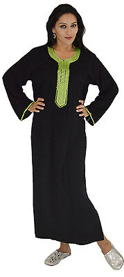 Moroccan Caftan Kaftan Handmade Maxi Dress Abaya Long Sleeved Med to Lg Black