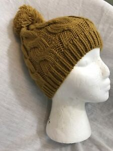 Forever 21 Cable Knit Pom Pom Beanie Hat Cap Yellow Ochre Cute - One ... 52647dfff90