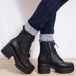 ef042faa9f19 LADIES BLACK LACE UP CHUNKY BLOCK HIGH HEEL MILITARY BIKER ANKLE ...