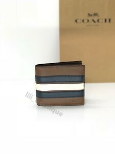1e6b01e9a638 NWT Coach F24649 Men Compact ID 3 IN 1 Wallet Varsity Leather Stripe ...
