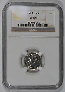 1954-10c-SILVER-ROOSEVELT-DIME-HIGH-GRADE-PROOF-COIN-NGC-PF-68-LOT-W810