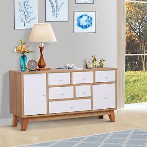 HOMCOM-Cupboard-Side-Cabinet-Storage-Seven-Drawers-Living-Room-Organiser