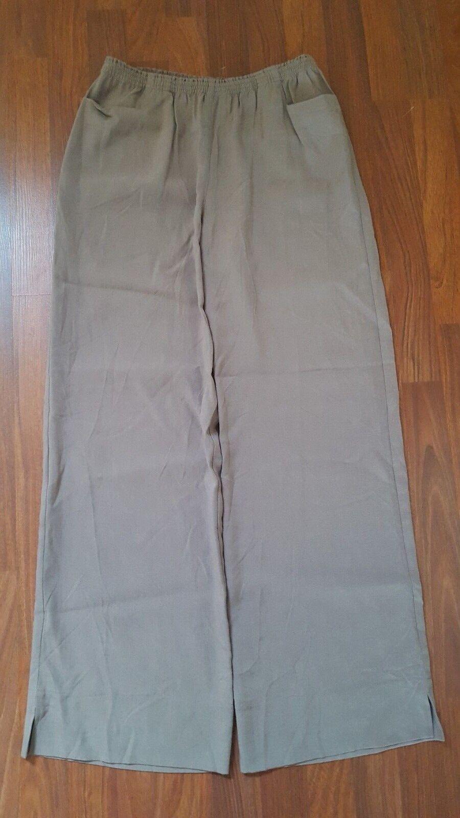 80 SOFT SURROUNDINGS Straight Leg Pants Elastic Waist S Brown 100% Tencel New