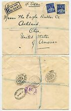 GOLD COAST 1937 REGISTERED CAPE COAST to USA 2 x 3d KG5 OHIO via PLYMOUTH