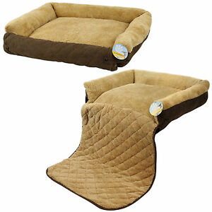 Me Amp My Pet Quilted Brown Fleece Fold Out Cat Dog Bed Sofa