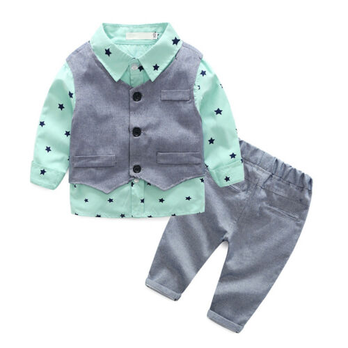 Toddler Baby Boys Gentlemen Top Pants Formal Suit 3PCS Outfits for Wedding Party