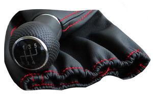 Passend für VW T4 5 Gang Schaltknauf Schaltsack  grau Ring rot