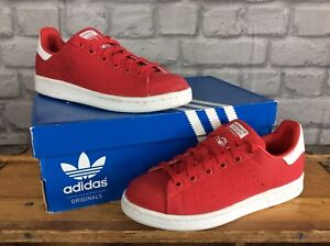 e3c00204e ADIDAS UK 3.5 EU 36 LADIES STAN SMITH RED CANVAS TRAINERS RRP £70