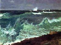 """Nice Oil painting seascape ocean waves by heach - Albert Bierstadt canvas 36"""""""