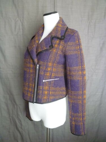 Leather By 25 Azrouel Yigal W Trim Plaid Cut Wool Jacket S 550 Moto Nwt wEXqtn8c