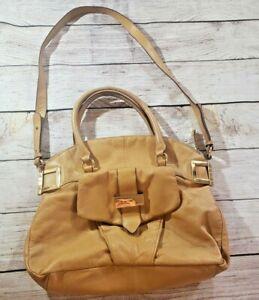 Pour-La-Victoire-Pebbled-Brown-Tan-Leather-Gold-Buckle-Hardware-Shoulder-Purse