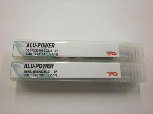 "2pc YG1 1//2/"" Long ALU-POWER Carbide End Mills for Aluminum YG-1 .500 3FL 36593"