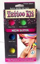 Temporary Tattoos Fright Night NEON GLITTER Kit pink green blue yellow