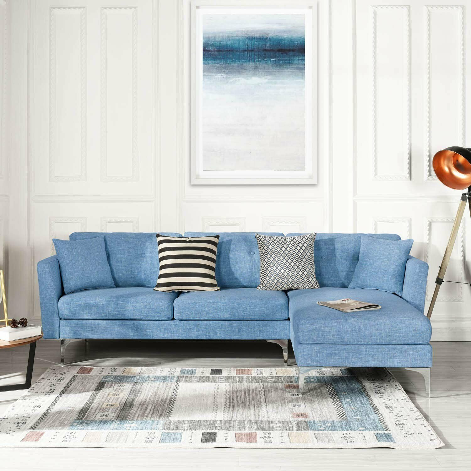 Pleasant Blue Upholstered Linen Sectional Sofa Couch Modern L Shape Sectional Couch Ibusinesslaw Wood Chair Design Ideas Ibusinesslaworg