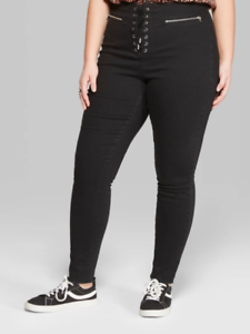 d62a4a14b9a Details about Women s Plus Size 22W Skinny High-Rise Corset Front Jeans  Wild Fable Black Wash