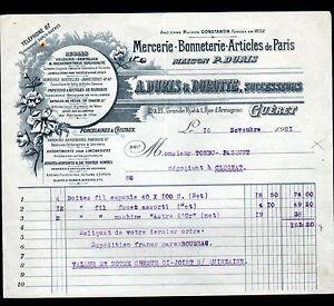 GUERET-23-MERCERIE-BONNETERIE-034-CONSTANTIN-A-DURIS-amp-DOROTTE-Succ-034-en-1921