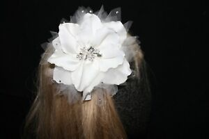 NEW Ivory flower bridal hair piece silver rhinestone sequins and jewels, $85