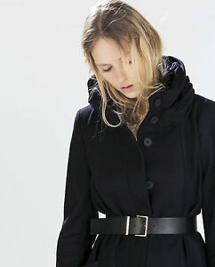83d284832a Details about ZARA NAVY COAT WITH WOOL WRAPAROUND COLLAR Ref. 2031/326 SIZE  M