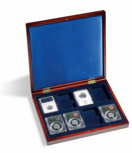 Certified Coins Collector Gift Luxury Wood Case Graded Slabs Mahogany Finish Box