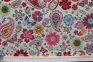 Dekostoff-Gobelin-Jacquard-B-amp-B-Fabrics-Paisley-Blumen-creme-bunt-140cm