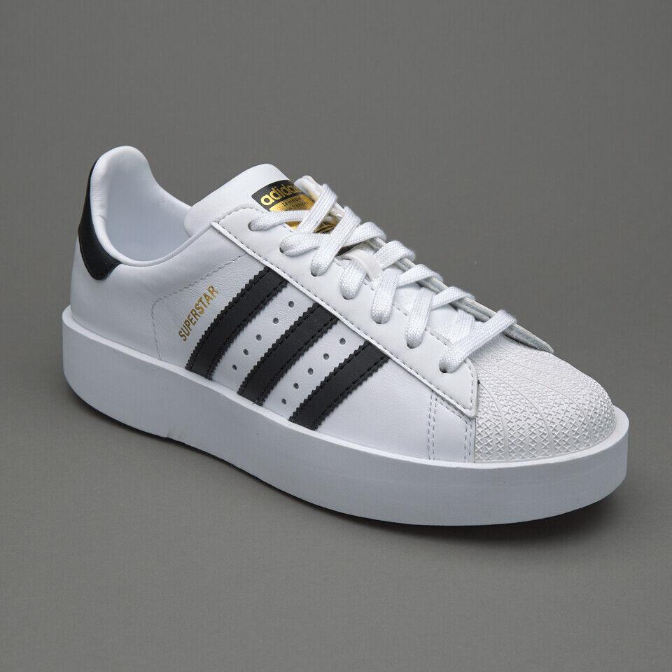 Adidas Superstar Bold Platform Casual Black White Gold BA7666 Women's Size  8.5