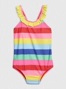 BABY GAP Rainbow Ruffle Swim Swimsuit One-Piece NWT 18-24M