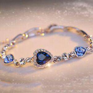 Frauen-Ozean-Blau-Kristall-Strass-Herz-Armreif-Geschenk-Mode