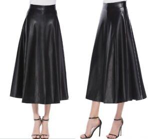 Women-High-Waist-Long-Maxi-Skirts-Swing-PU-Leather-Flared-Pleated-A-Line-Dress