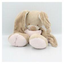Doudou chien lapin écru oreilles rose bleu NICKY TOYS Lapin Classique