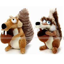 "Cute 7"" ICE AGE 3 PLUSH STUFFED TOYS SQUIRRELS SCRAT SCRATTE PAIR SOFT DOLL"