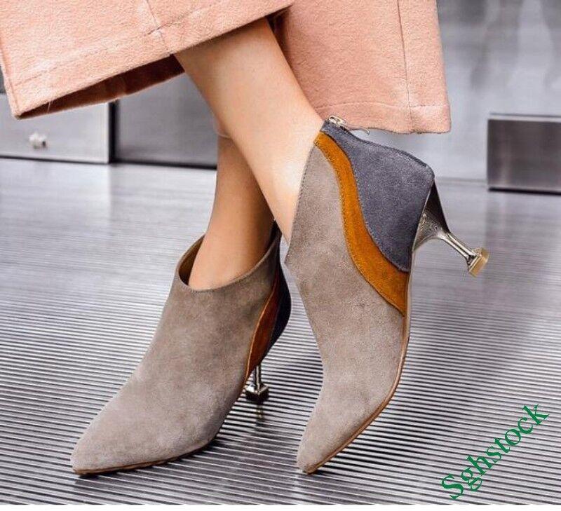 Luxury Women's Faux Suede Ankle Boots Stilettos Elegant Party Shoes US4.5-9 New^