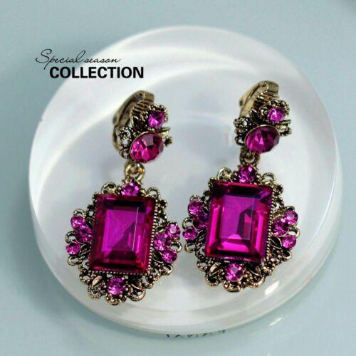 Ohrringe Mode Cilp Golden Rosa Kristall Rechteck Jahrgang Anhänger Hohl YW4