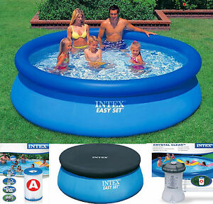 Intex easy set inflatable swimming paddling pool 6 8 10 ft pool cover pump ebay Inflatable quick set swimming pool
