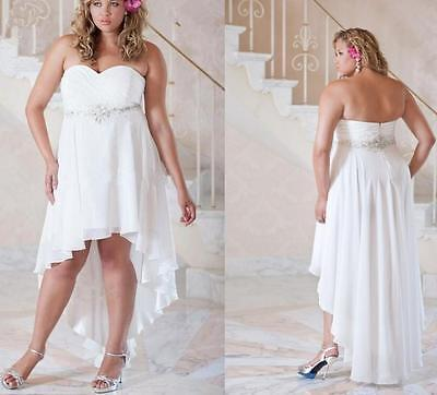 High Waist Short Beach Plus Size Wedding Dress Maternity Dress with  Crystals | eBay